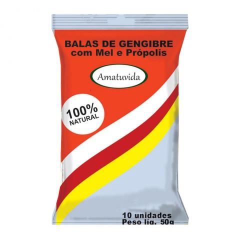 Balas de Gengibre c/ Mel e Própolis 100% Natural Amatuvita 40g REF: 06776